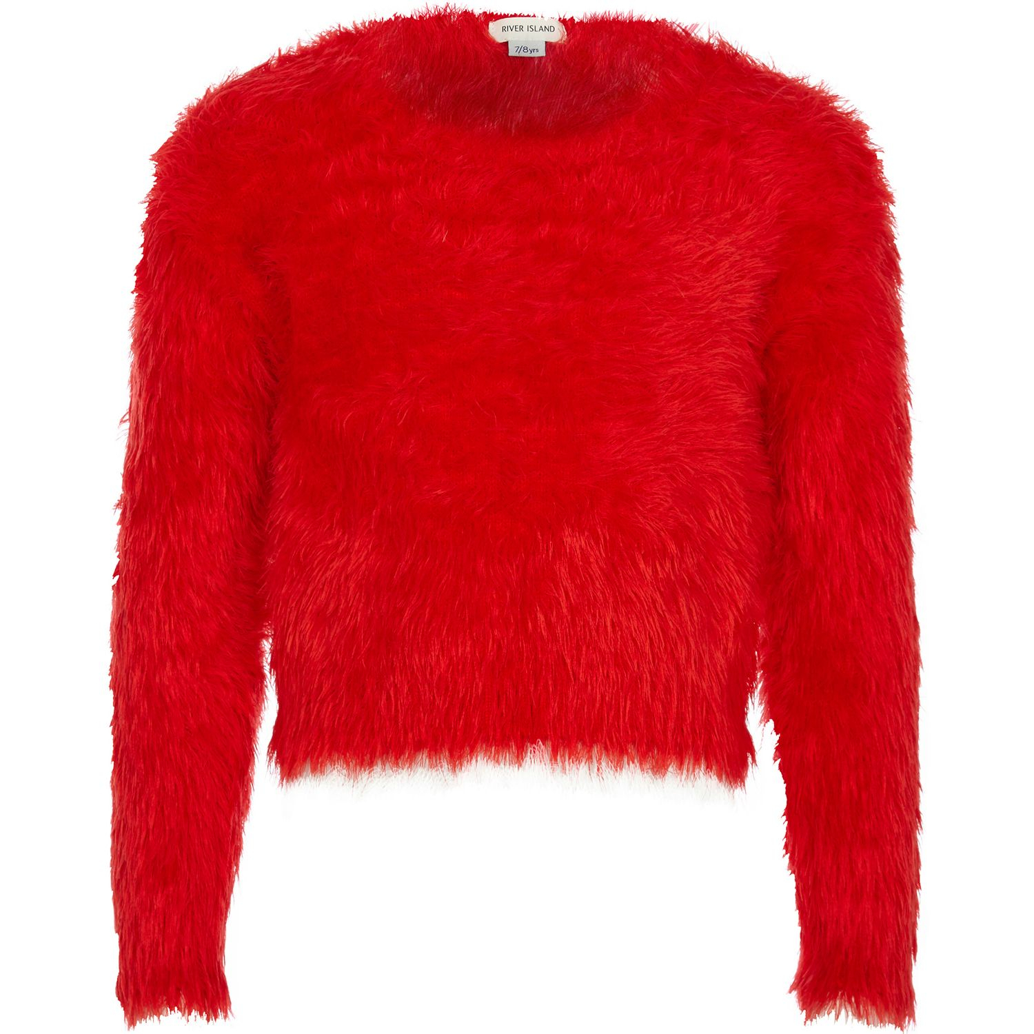 River island Girls Red Fluffy Jumper in Red | Lyst