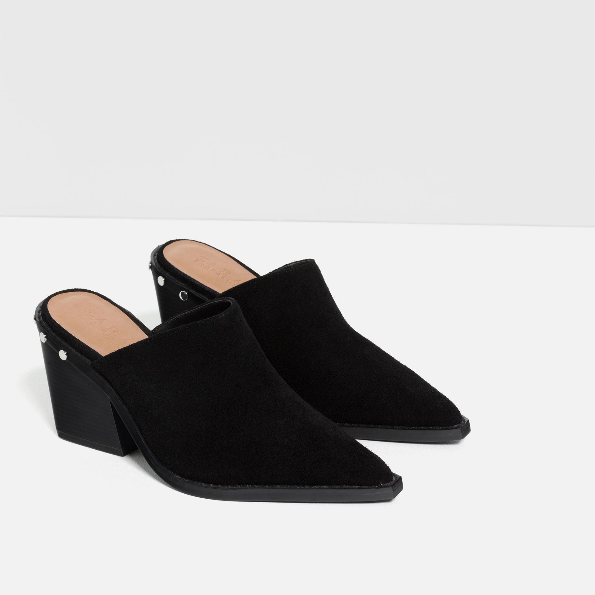 zara high heel mule shoes in black lyst