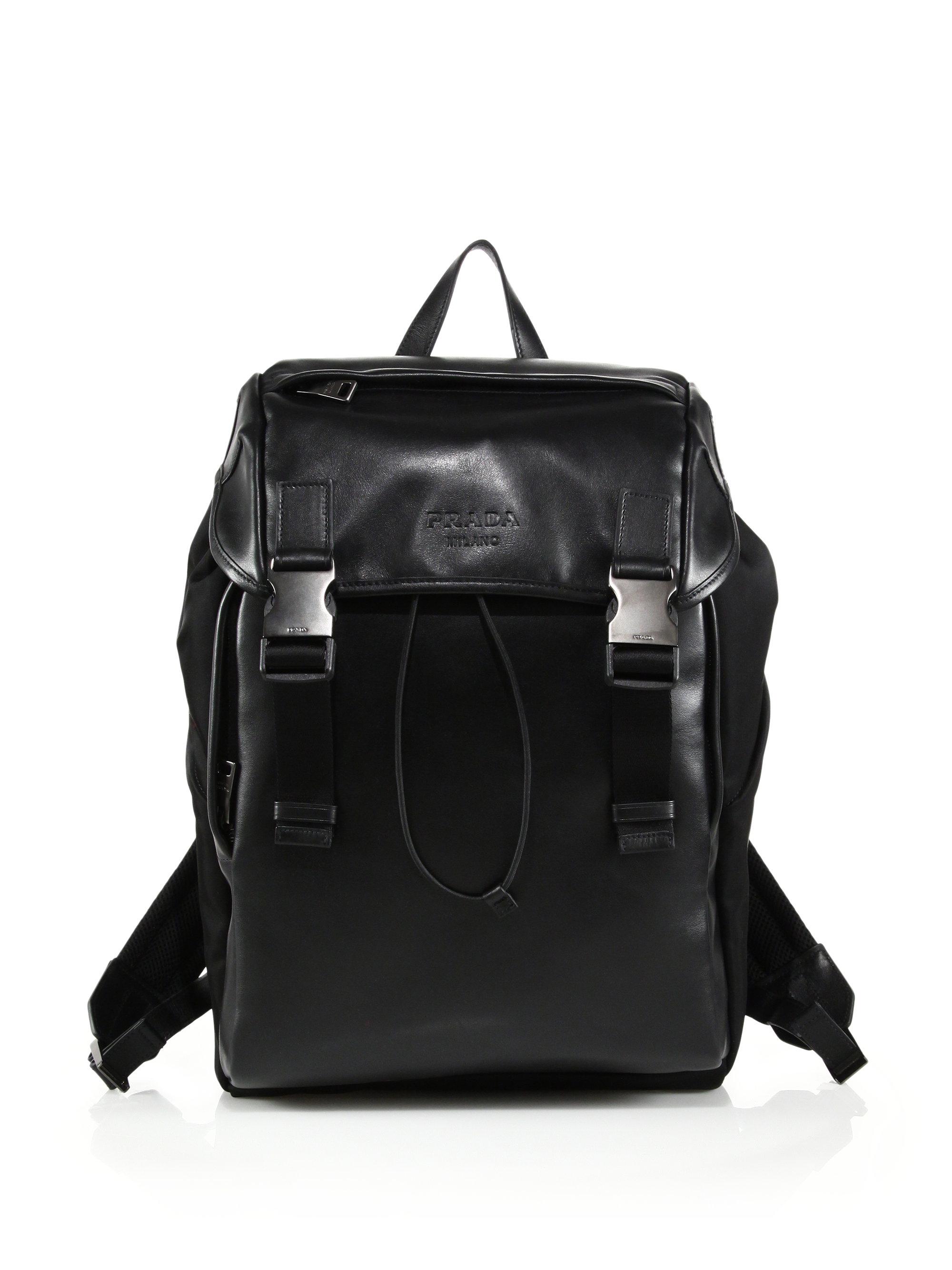 9f9f15ea1318 ... best price lyst prada soft calf nylon backpack in black for men e7cae  714a9