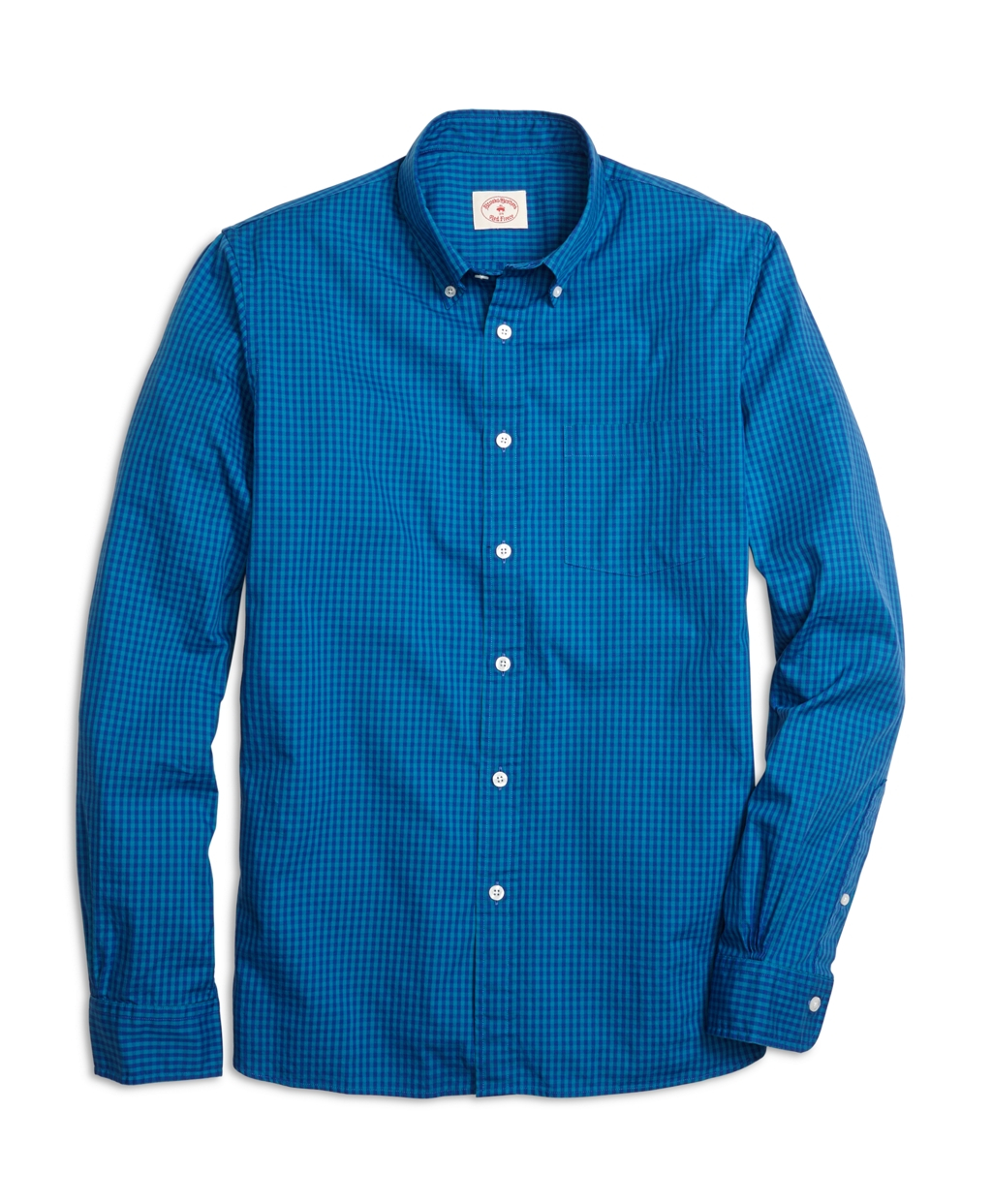 Brooks brothers gingham oxford sport shirt in blue for men for Brooks brothers sports shirts