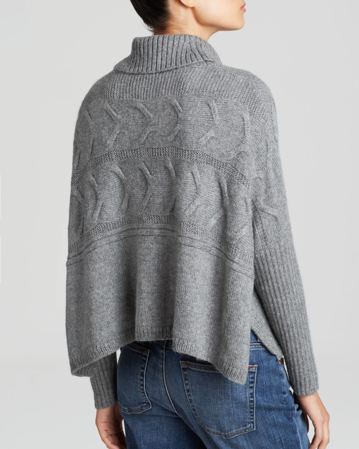 Eileen fisher Cable Knit Turtleneck Sweater in Gray | Lyst