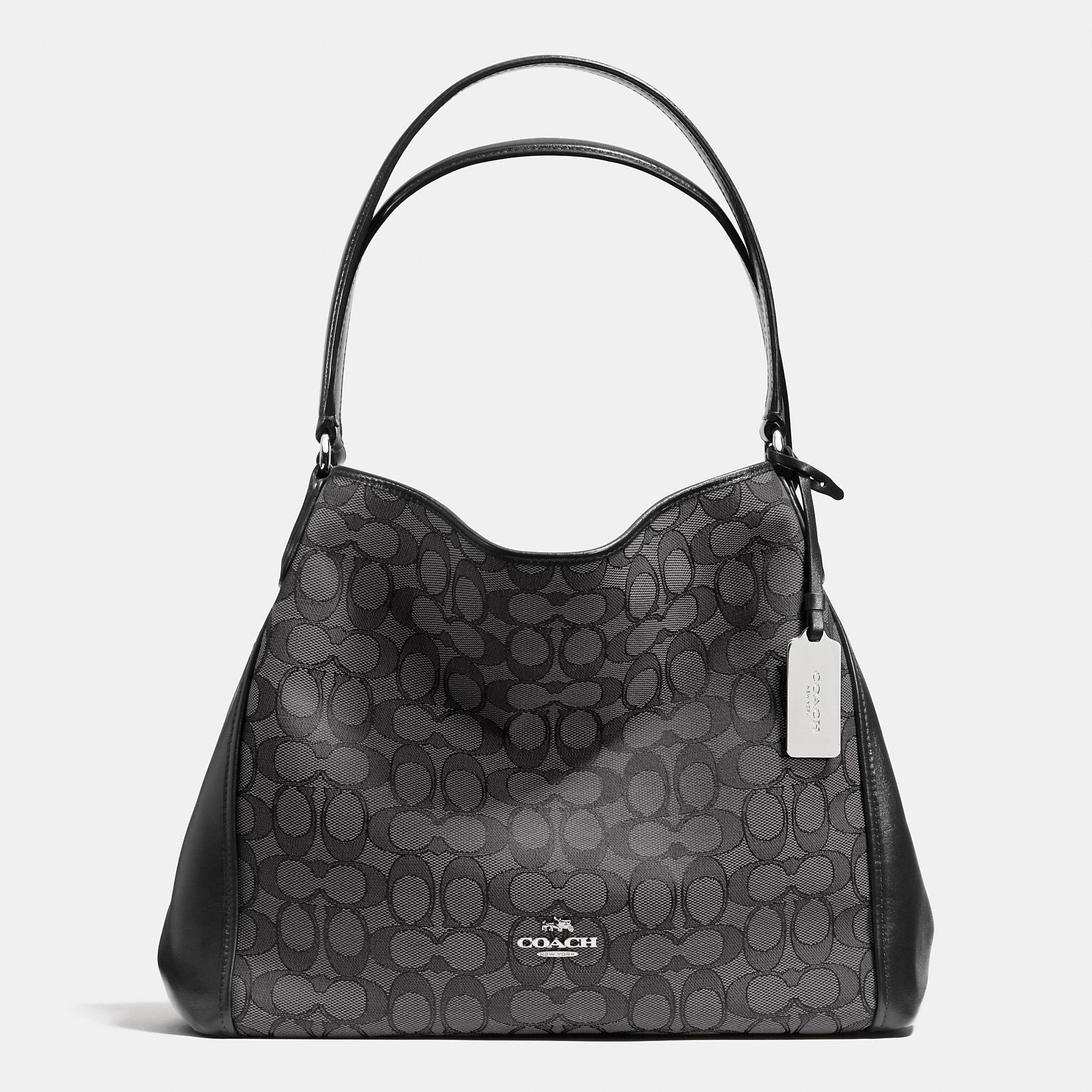 d73856a17d Lyst - COACH Edie Shoulder Bag 31 In Signature Jacquard in Black
