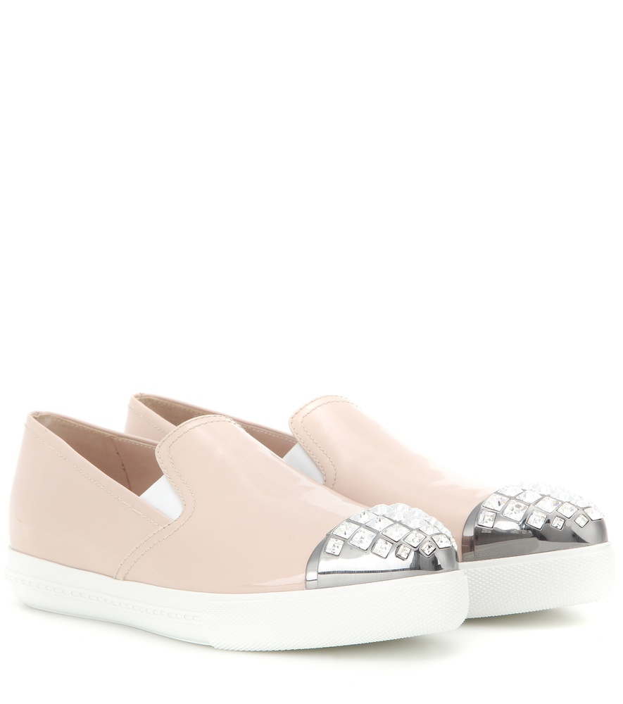 miu miu embellished patent leather slip on sneakers in natural lyst. Black Bedroom Furniture Sets. Home Design Ideas