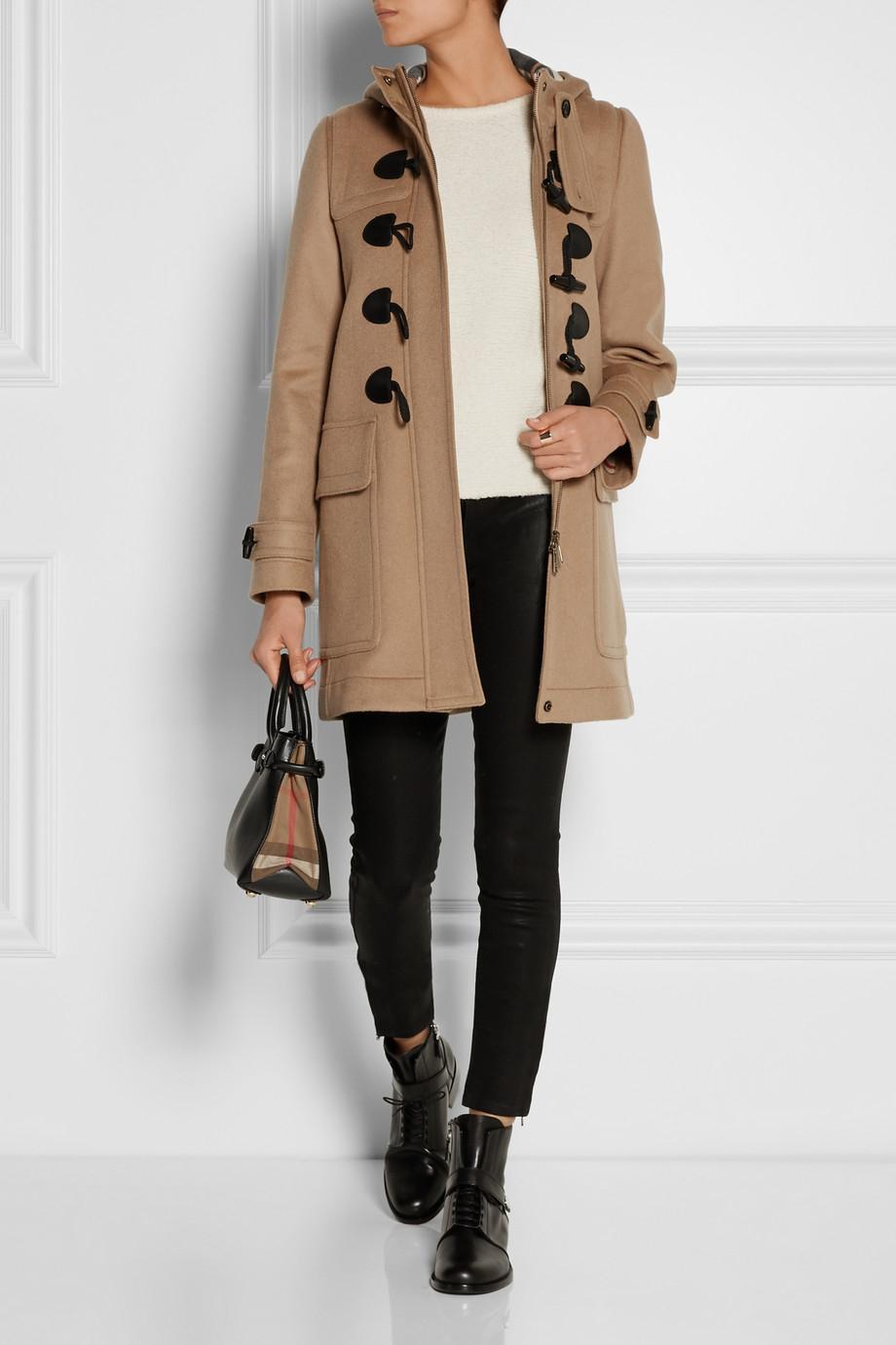 lyst burberry brit hooded wool duffle coat in brown. Black Bedroom Furniture Sets. Home Design Ideas