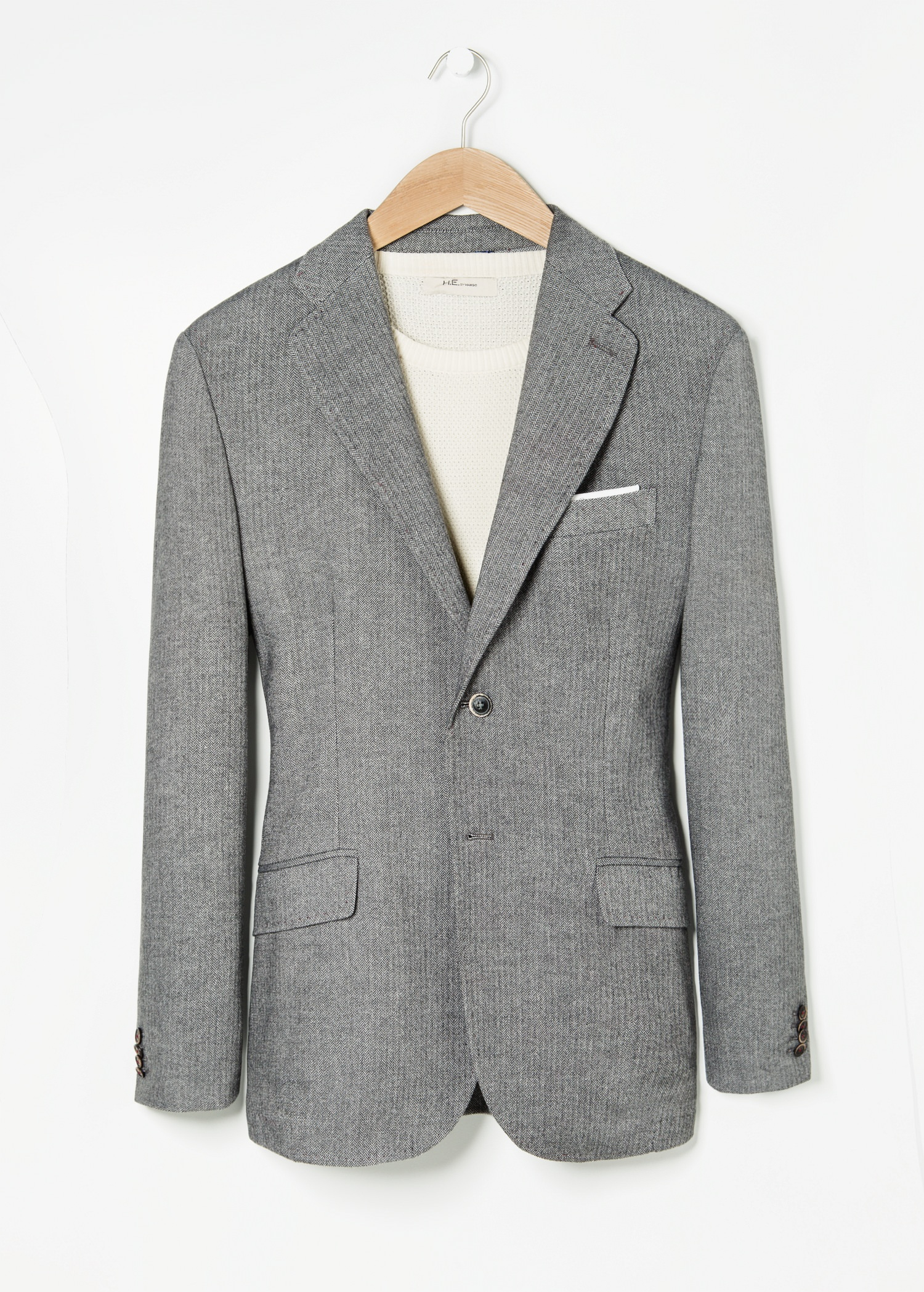 Mango Slim Fit Patterned Suit Blazer In Gray For Men Lyst