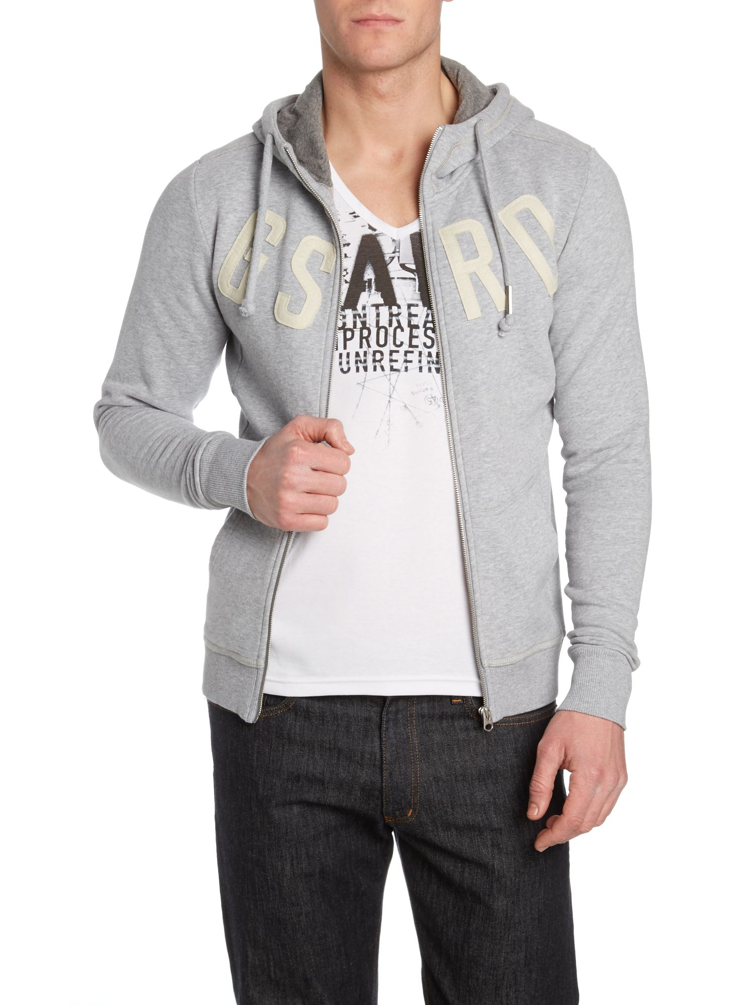 g star raw hooded logo sweatshirt in gray for men grey. Black Bedroom Furniture Sets. Home Design Ideas