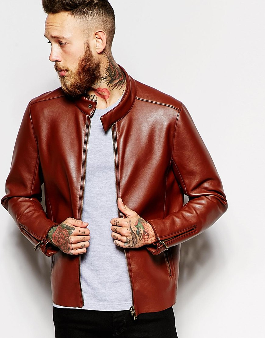 Asos Faux Leather Racing Biker Jacket in Brown for Men | Lyst