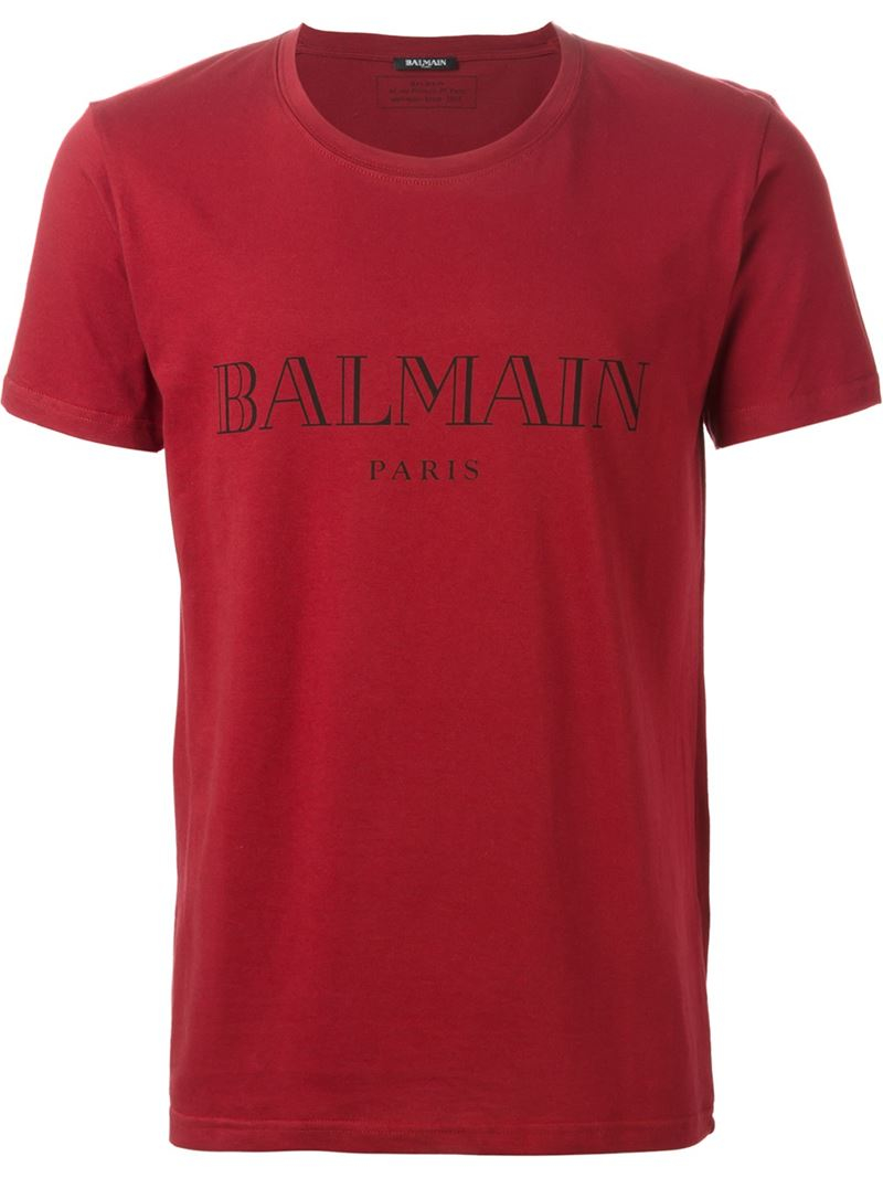 balmain logo cotton t shirt in red for men. Black Bedroom Furniture Sets. Home Design Ideas