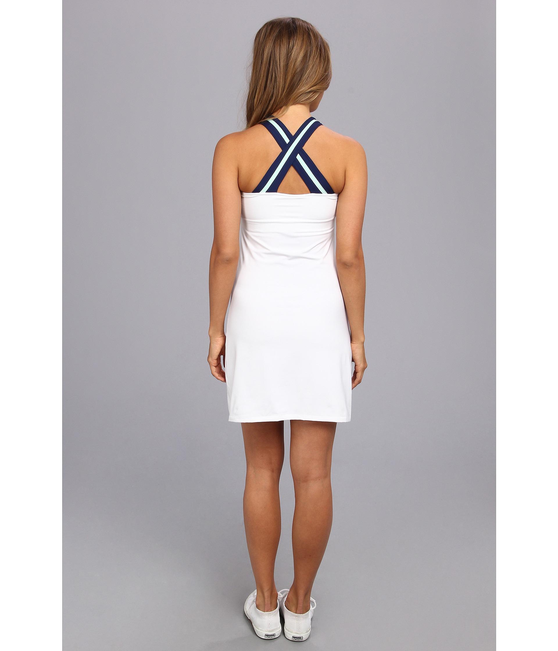 Lacoste Sleeveless Technical Vneck Tennis Dress In Blue Lyst