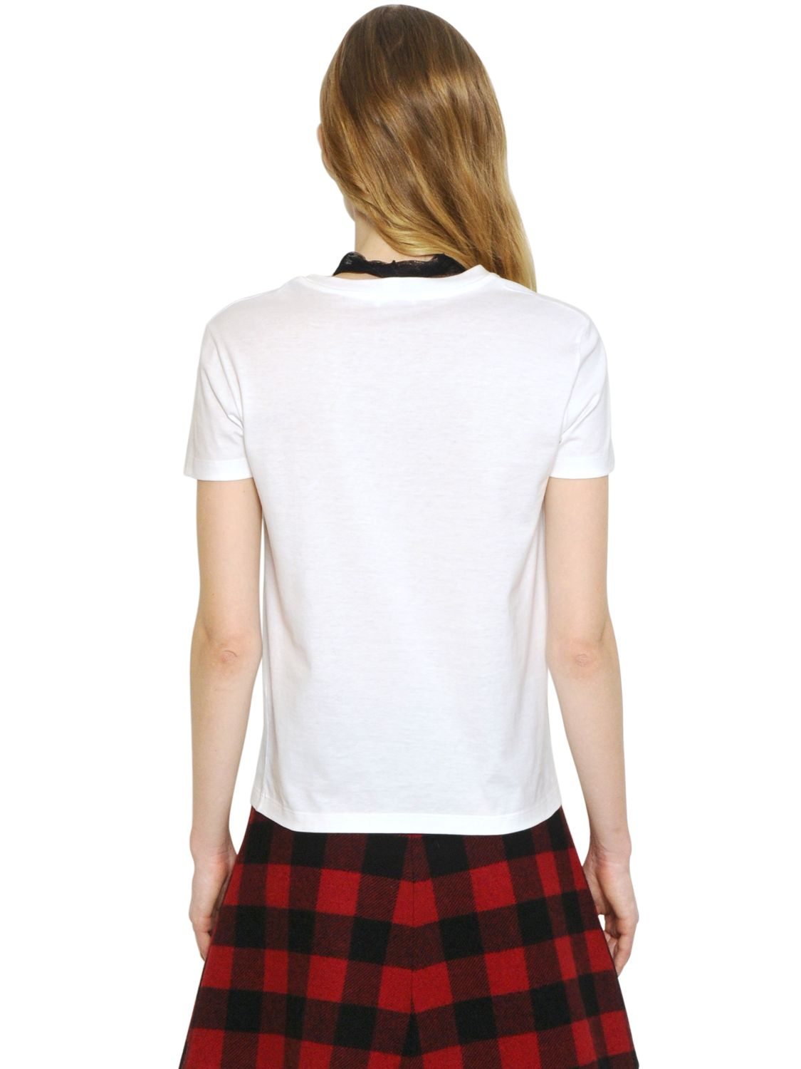 6a36616f868d1 Lyst - RED Valentino Circus Printed Cotton T-Shirt With Scarf in White