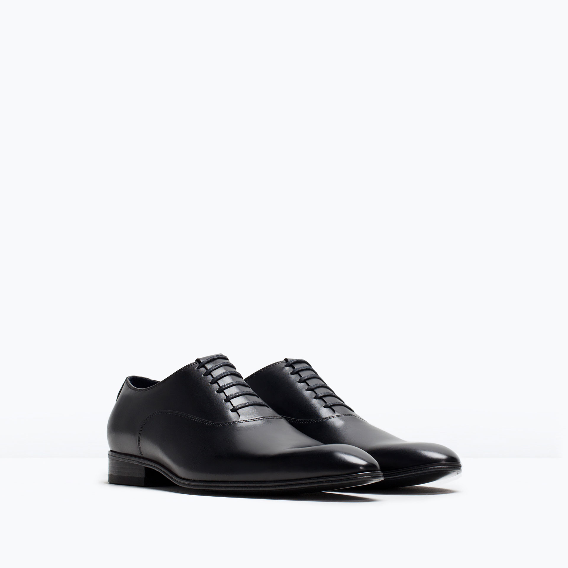 zara formal leather oxford shoe in black for lyst