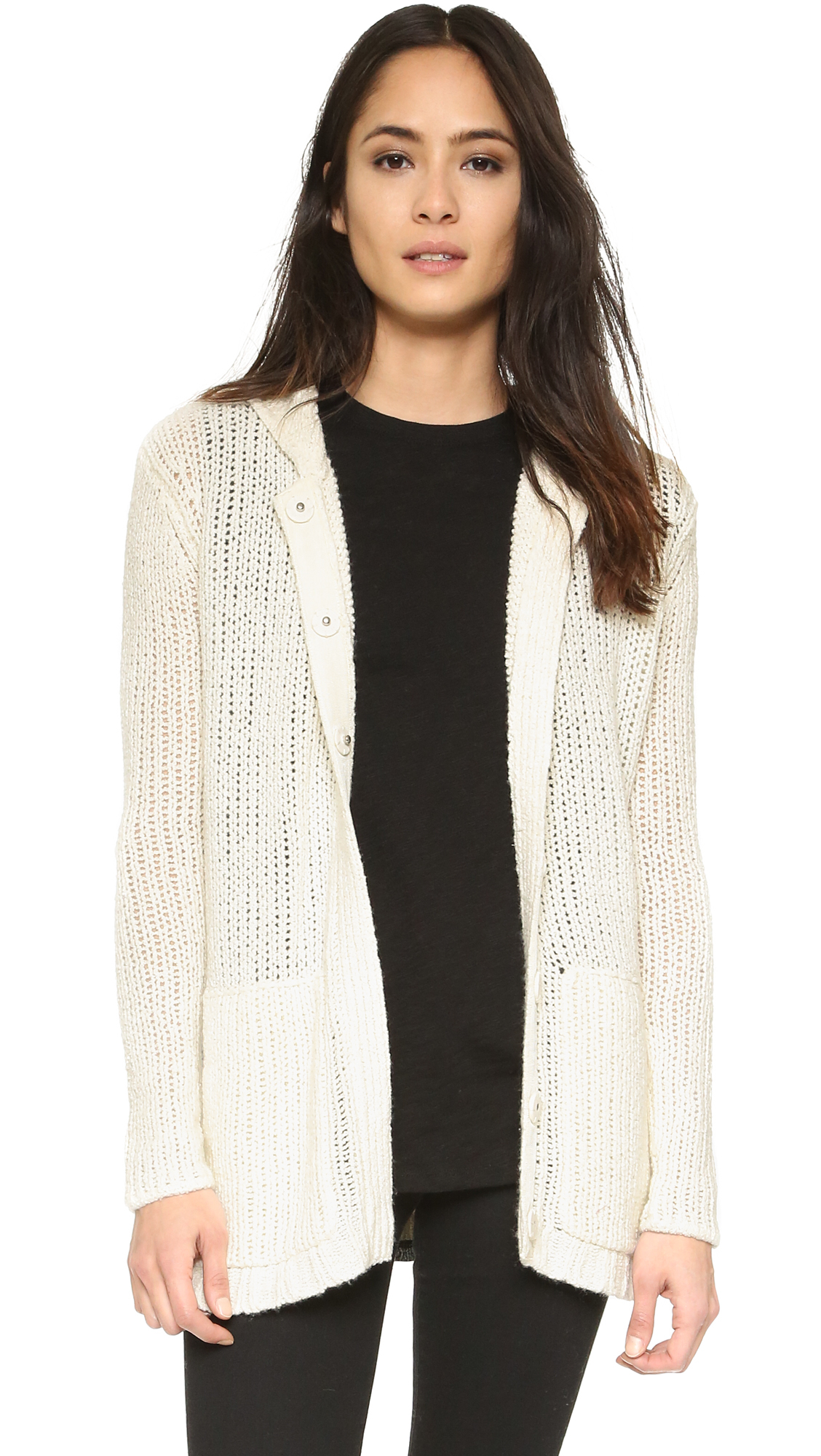Atm Oversize Hooded Sweater Coat in White | Lyst