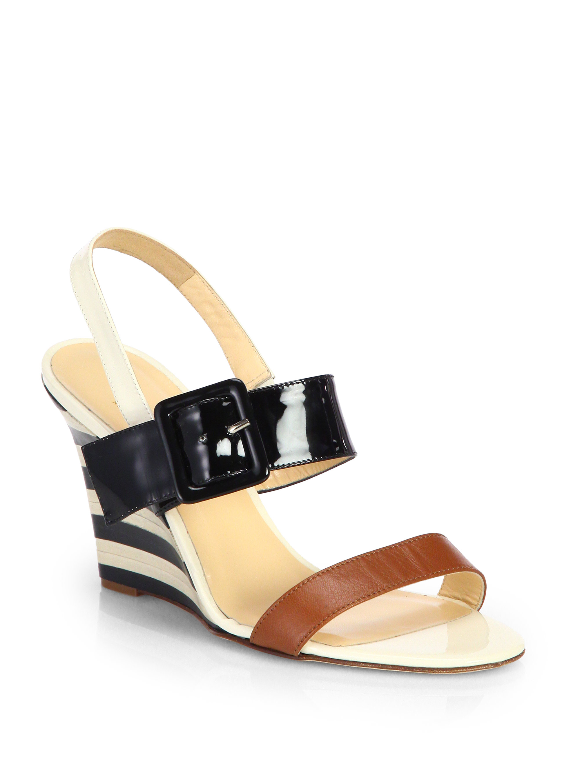 Kate Spade Isola Patent Leather Wedge Sandals In Black