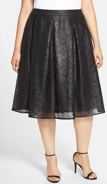 sejour lace a line midi skirt in black lyst