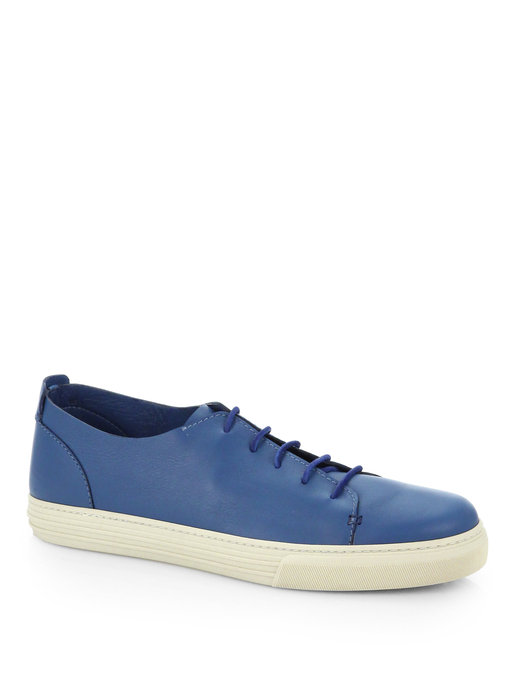 Lyst Gucci Leather Laceup Sneakers In Blue For Men