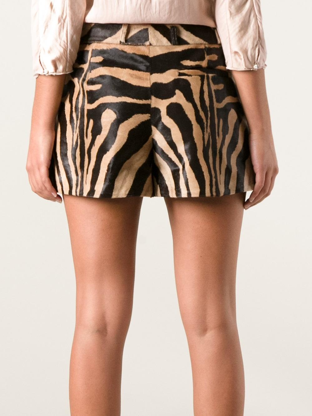 Emilio Pucci Zebra Print Shorts In Brown Lyst