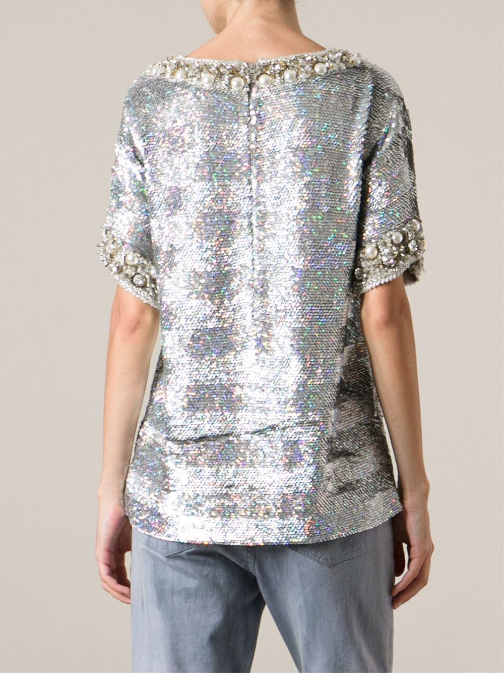 Lyst ashish sequin embellished t shirt in metallic for Silver metallic shirt women s
