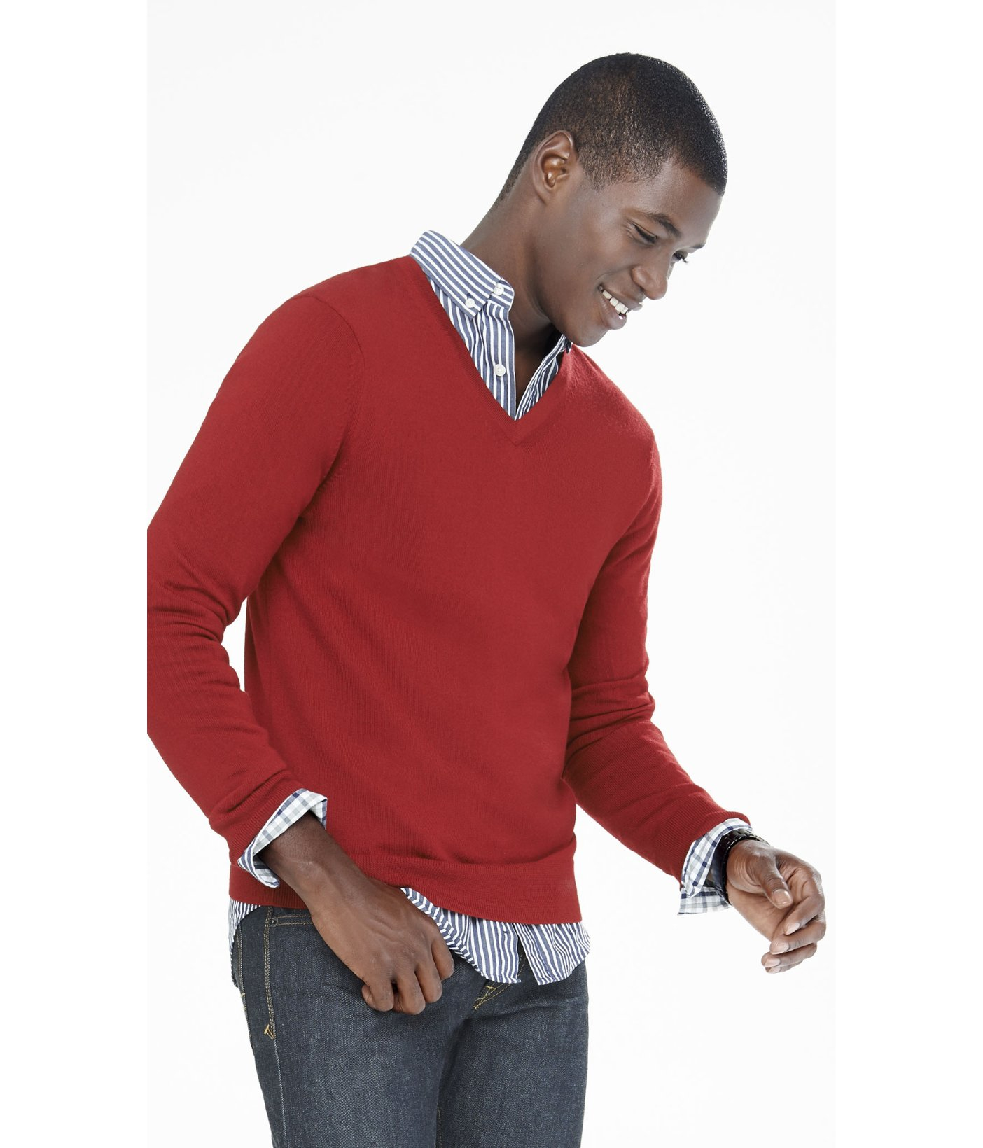 Express Merino Wool V-neck Sweater in Red for Men | Lyst
