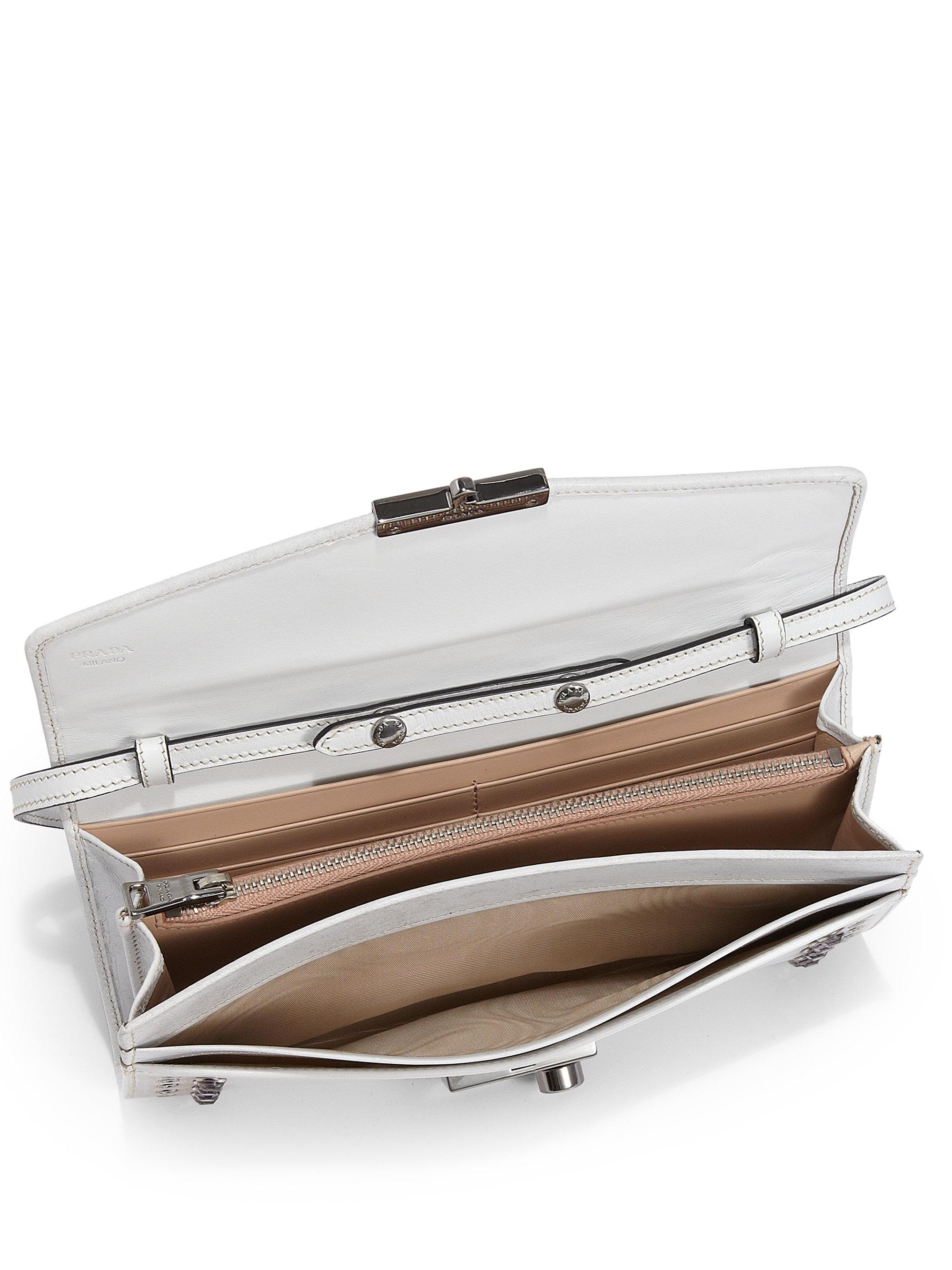 Prada Vitello Mini Crossbody Bag in White (BIANCO-WHITE) | Lyst