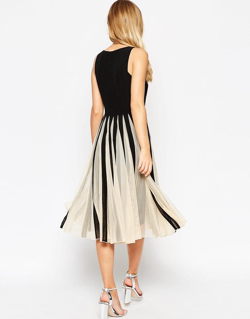 Dress Square Double Thai 100 Viscose: ASOS Mesh Insert Square Neck Midi Dress In Black