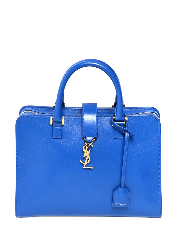 85115f21159d Saint Laurent Small Cabas Monogram Leather Bag in Blue - Lyst