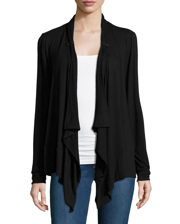 Joan vass Button-tab Cascade Cardigan in Black | Lyst