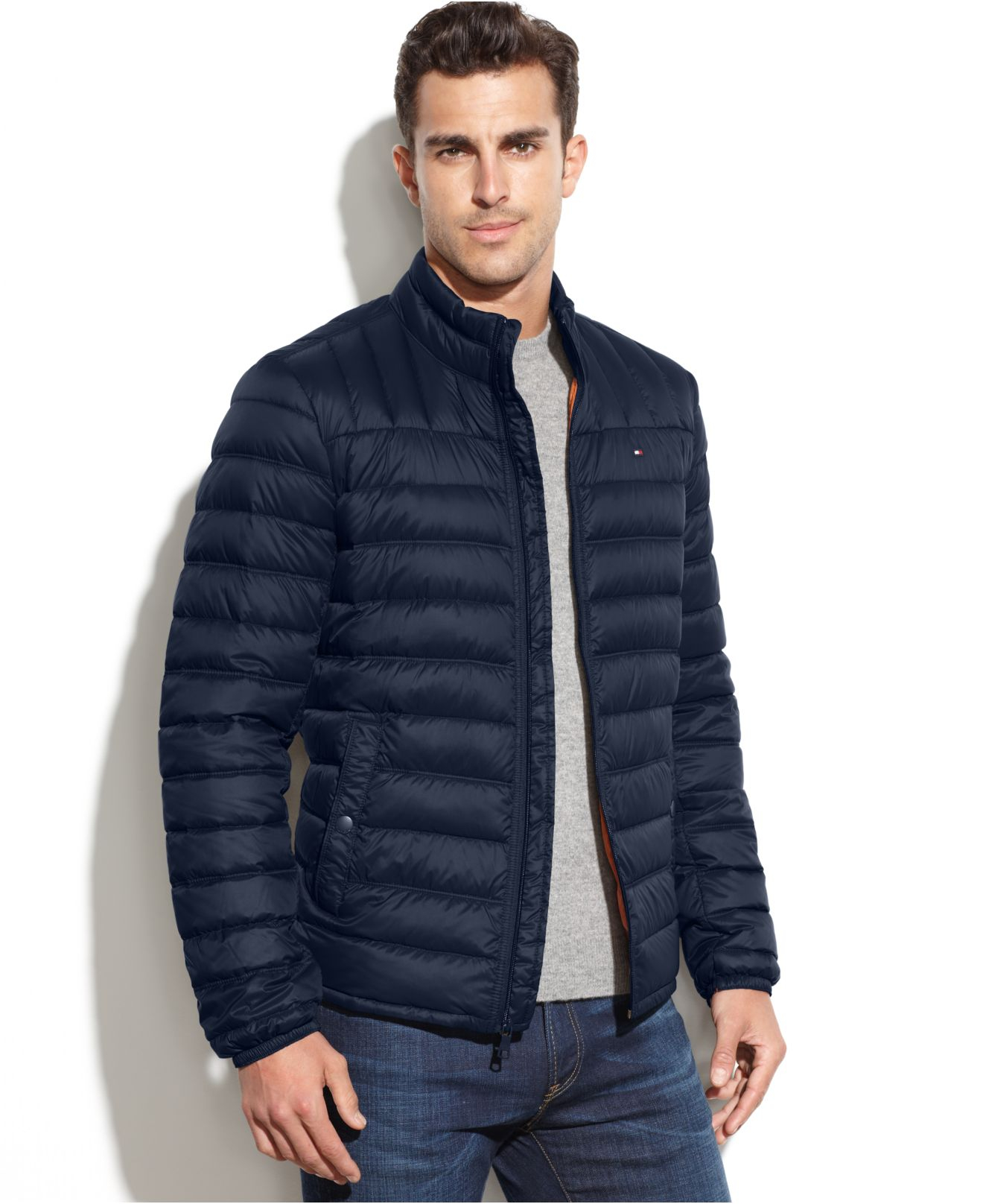 lyst tommy hilfiger quilted packable down puffer in blue. Black Bedroom Furniture Sets. Home Design Ideas