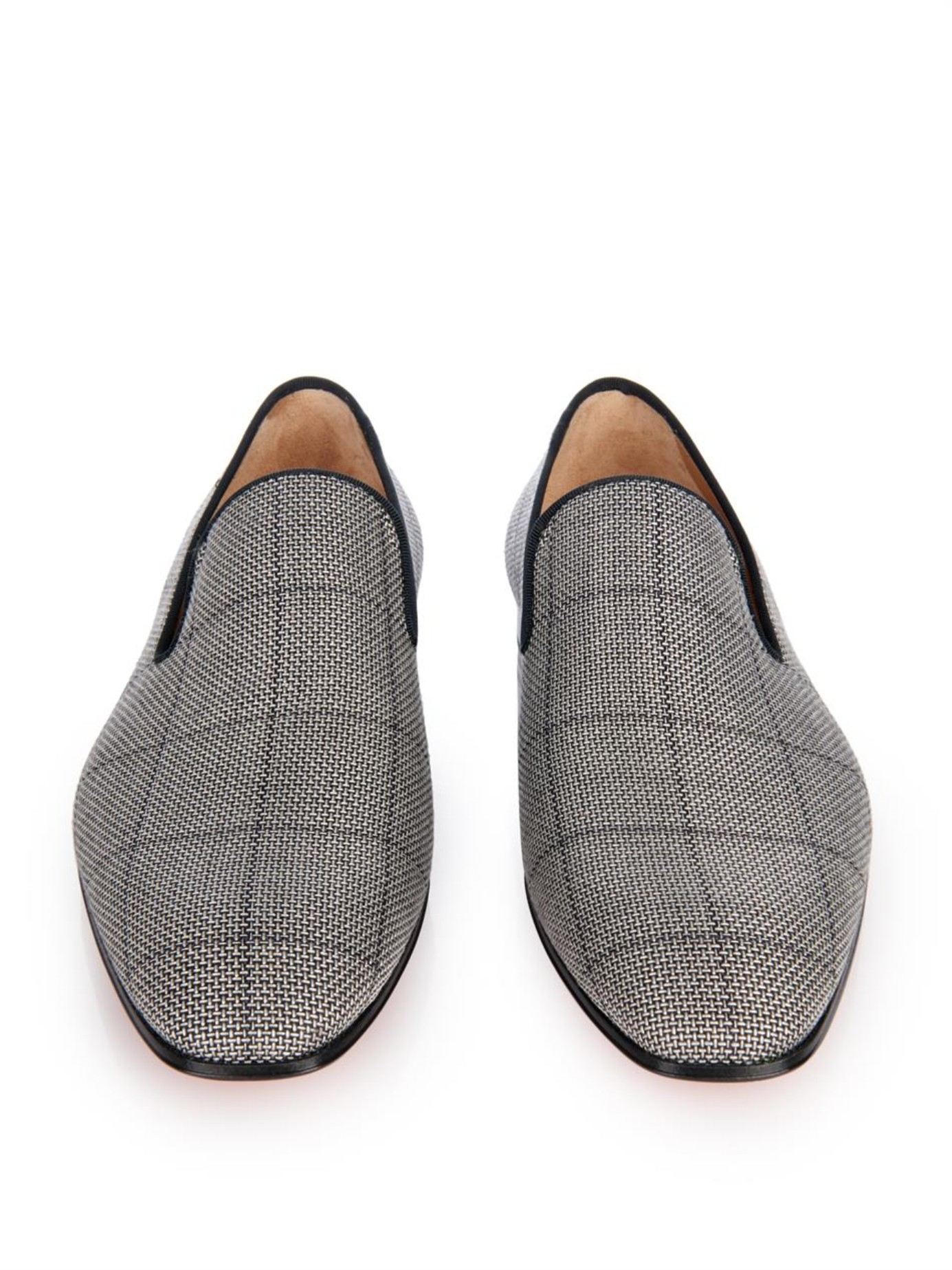 mens louboutin sneakers for sale - Christian louboutin Dandelion Woven-Check Loafers in Gray for Men ...