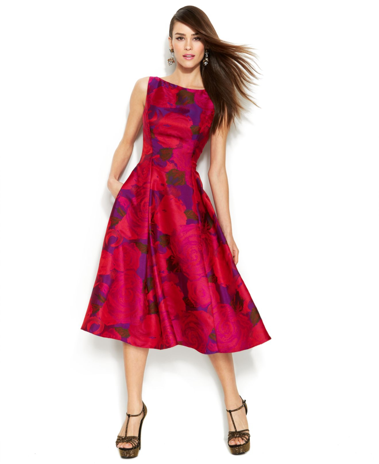 7c8218d435 Adrianna Papell Sleeveless Rose-Print Midi Dress in Red - Lyst
