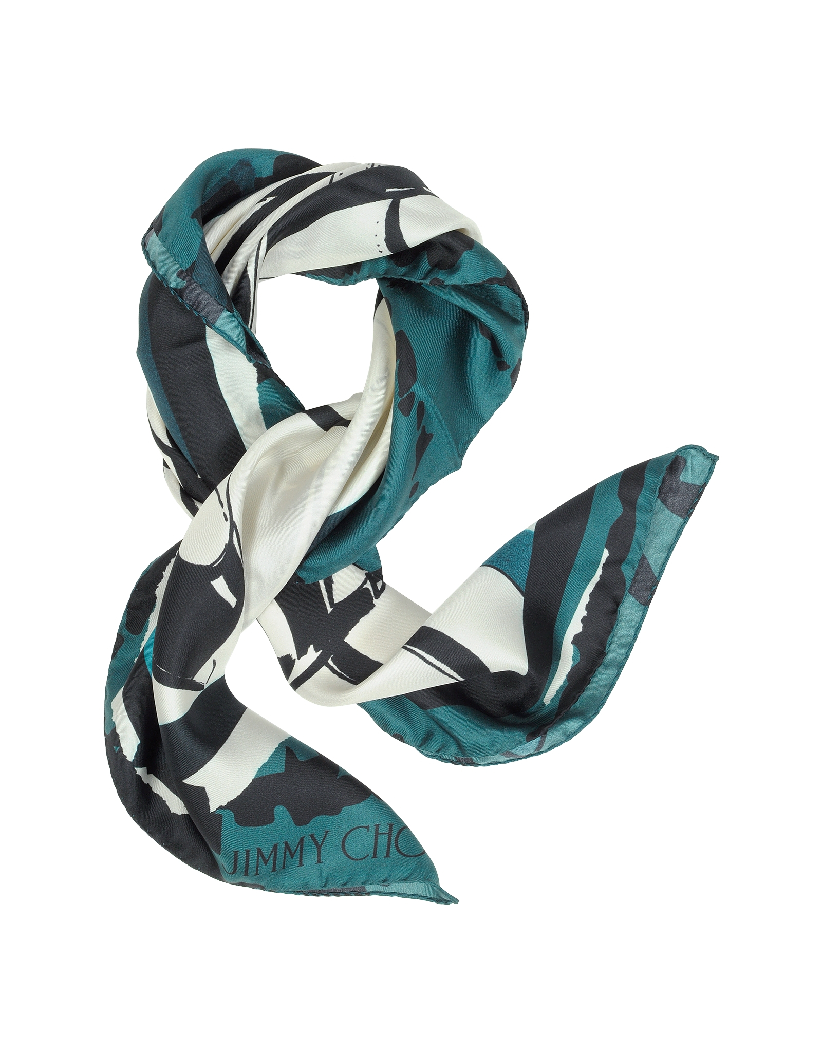 jimmy choo shoes printed silk square scarf in blue lyst