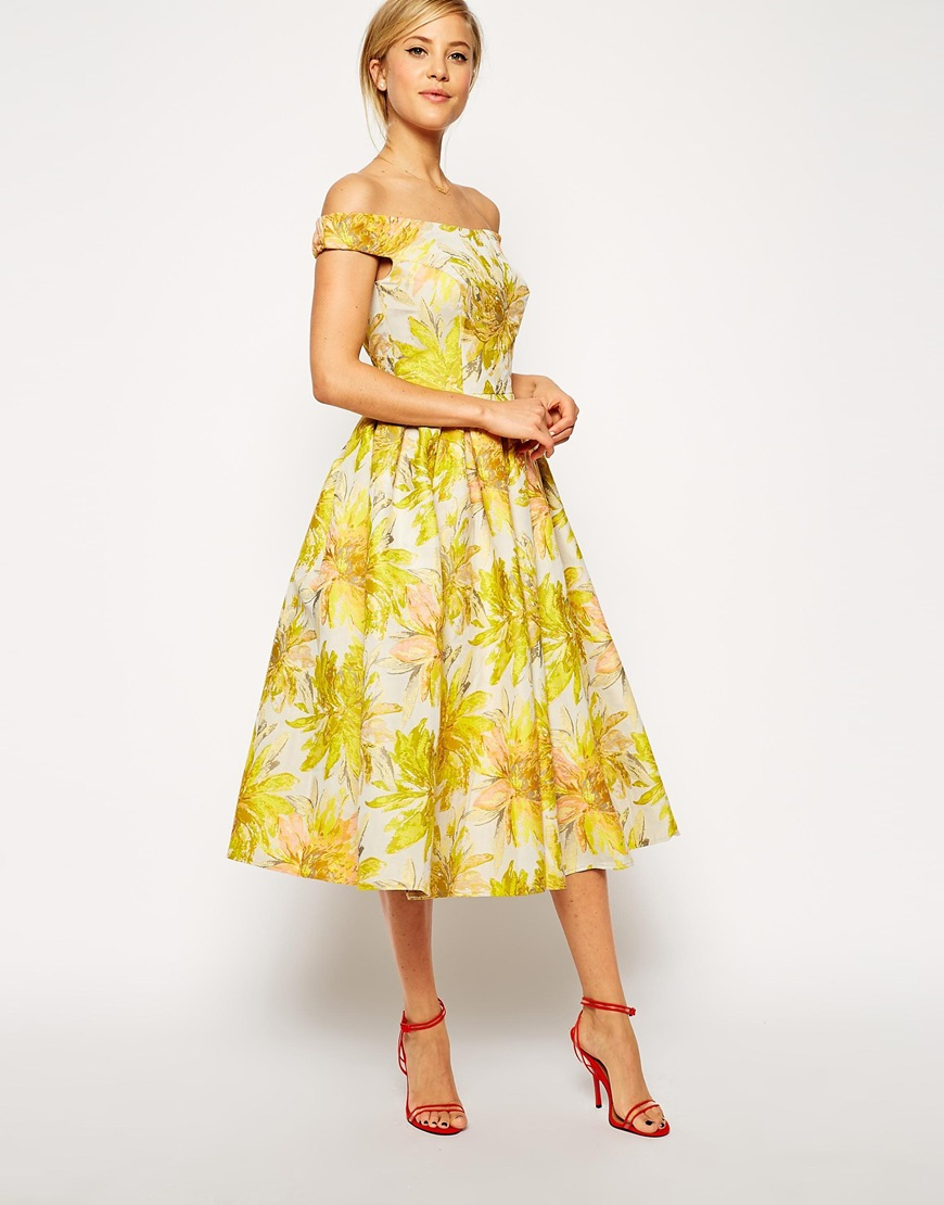 Lyst - Asos Sunflower Bardot Midi Prom Dress in Yellow