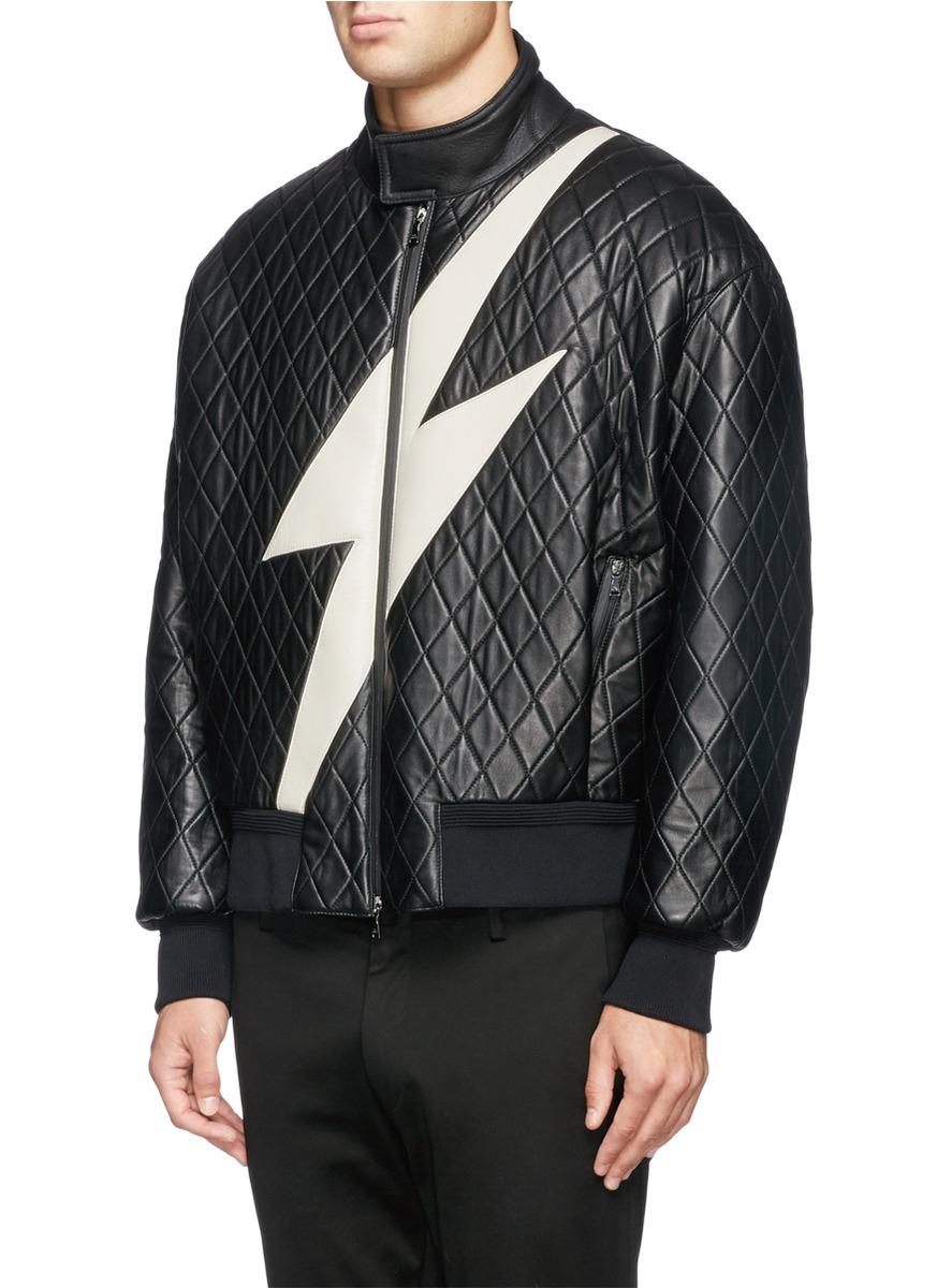 Lighting Jacket: Neil Barrett Lightning Bolt Quilted Leather Bomber
