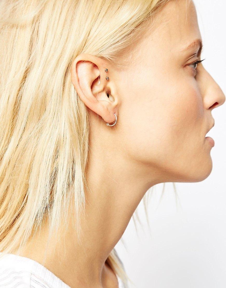 16ceb163f ASOS Sterling Silver 12mm Reverse Through Hoop Earrings in Metallic ...