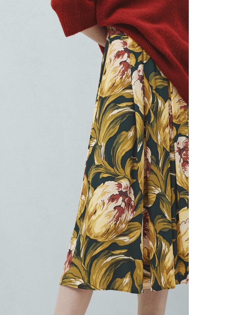 d3afcd1e5 Mango Floral Midi Skirt in Green - Lyst
