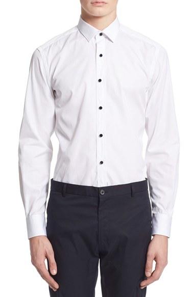 Lanvin extra trim fit tuxedo shirt in white for men lyst for Extra slim tuxedo shirt