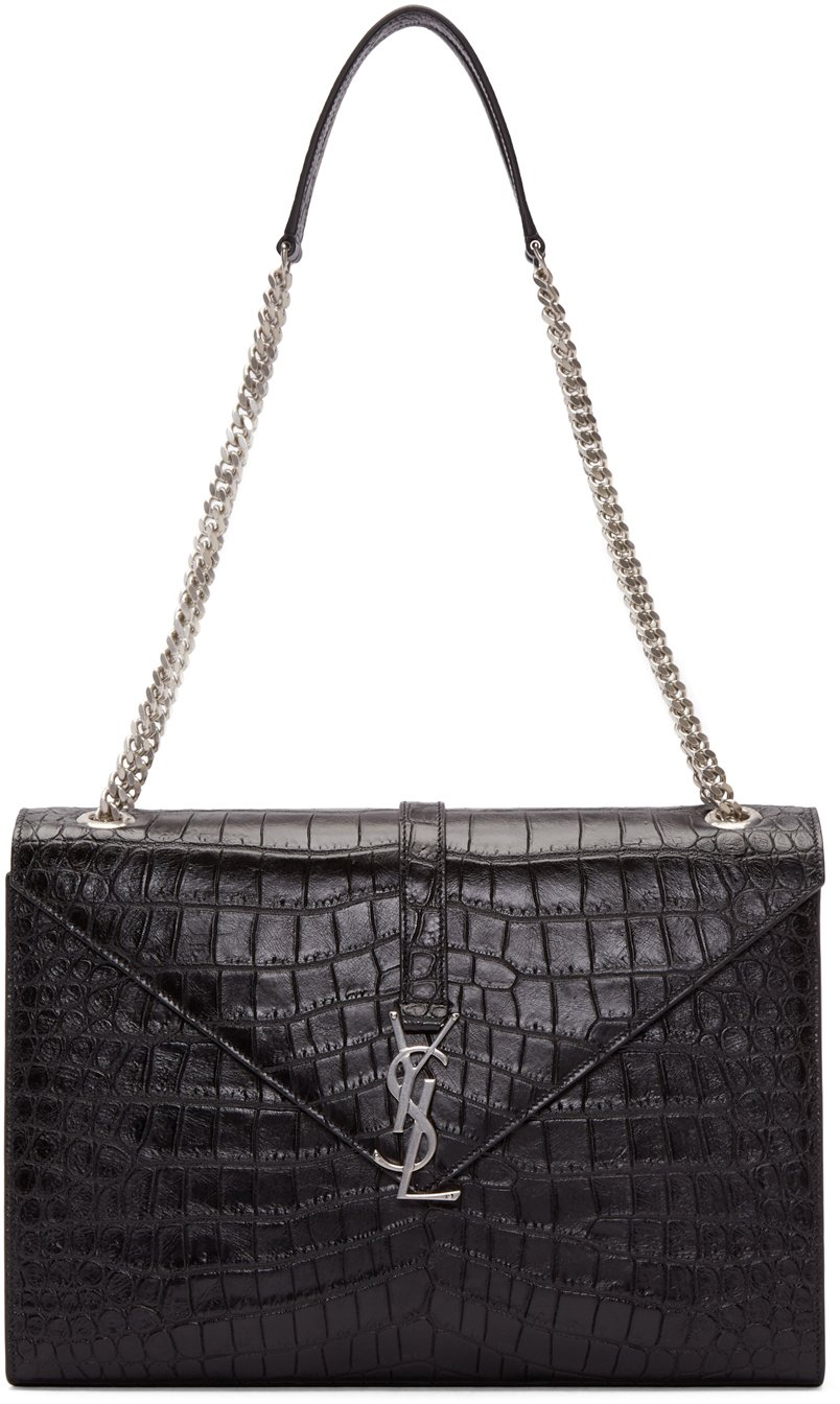 saint laurent classic monogram saint laurent clutch in black crocodile embossed leather yves st. Black Bedroom Furniture Sets. Home Design Ideas