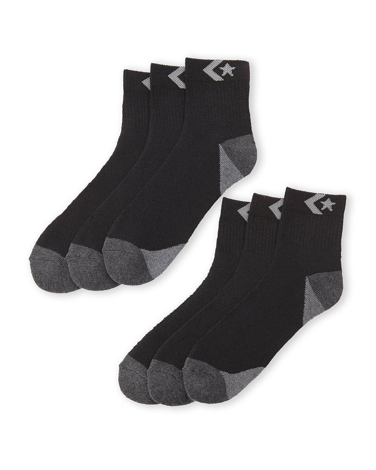 849f02ebbf6e Lyst - Converse 6-Pack Quarter Socks in Black for Men