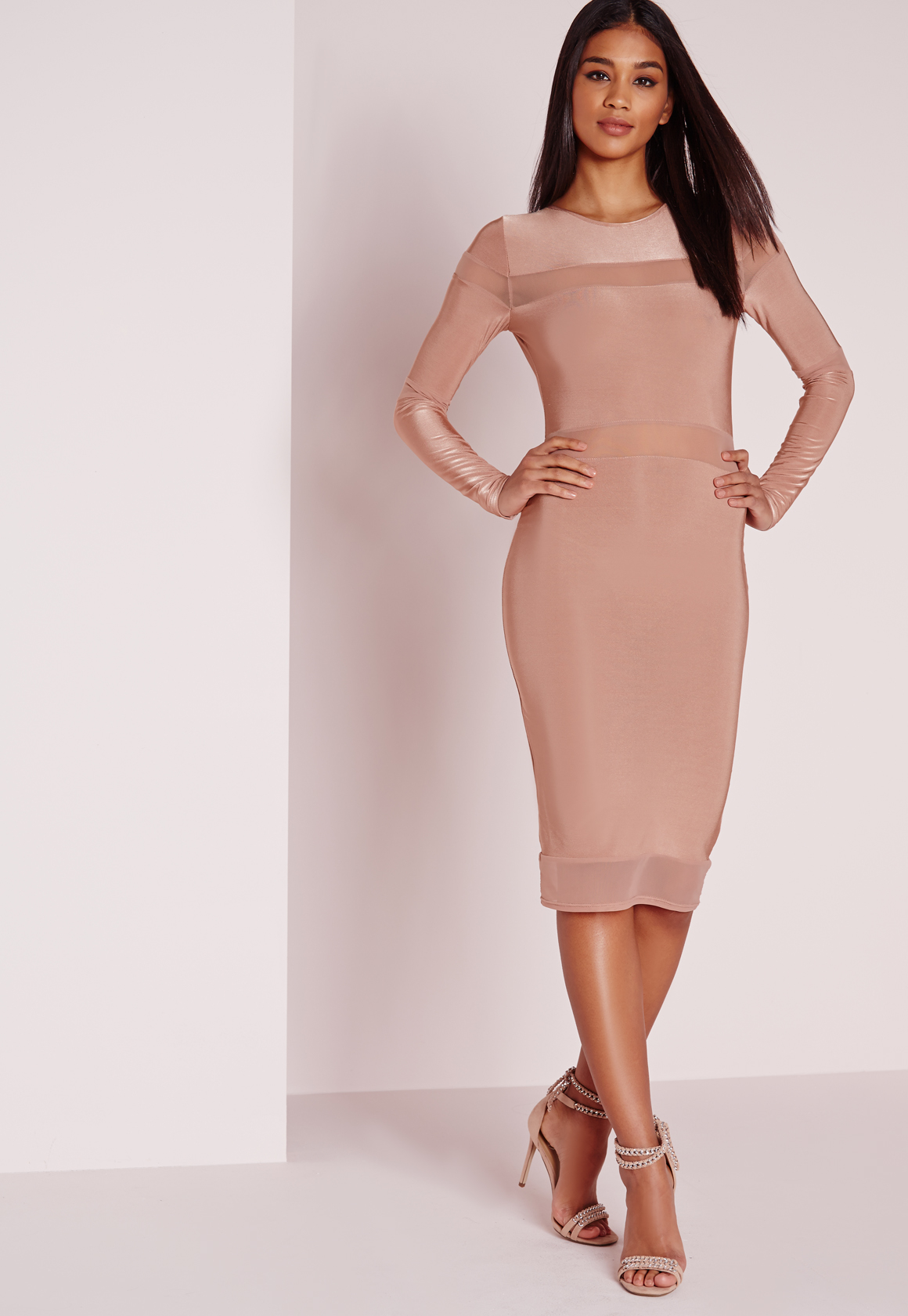 0cfc1dd02787 Missguided Long Sleeve Mesh Panel Midi Dress Rose in Natural - Lyst
