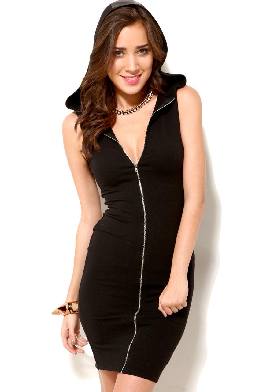 Akira Zip Front Hoodie Dress in Black in Black | Lyst