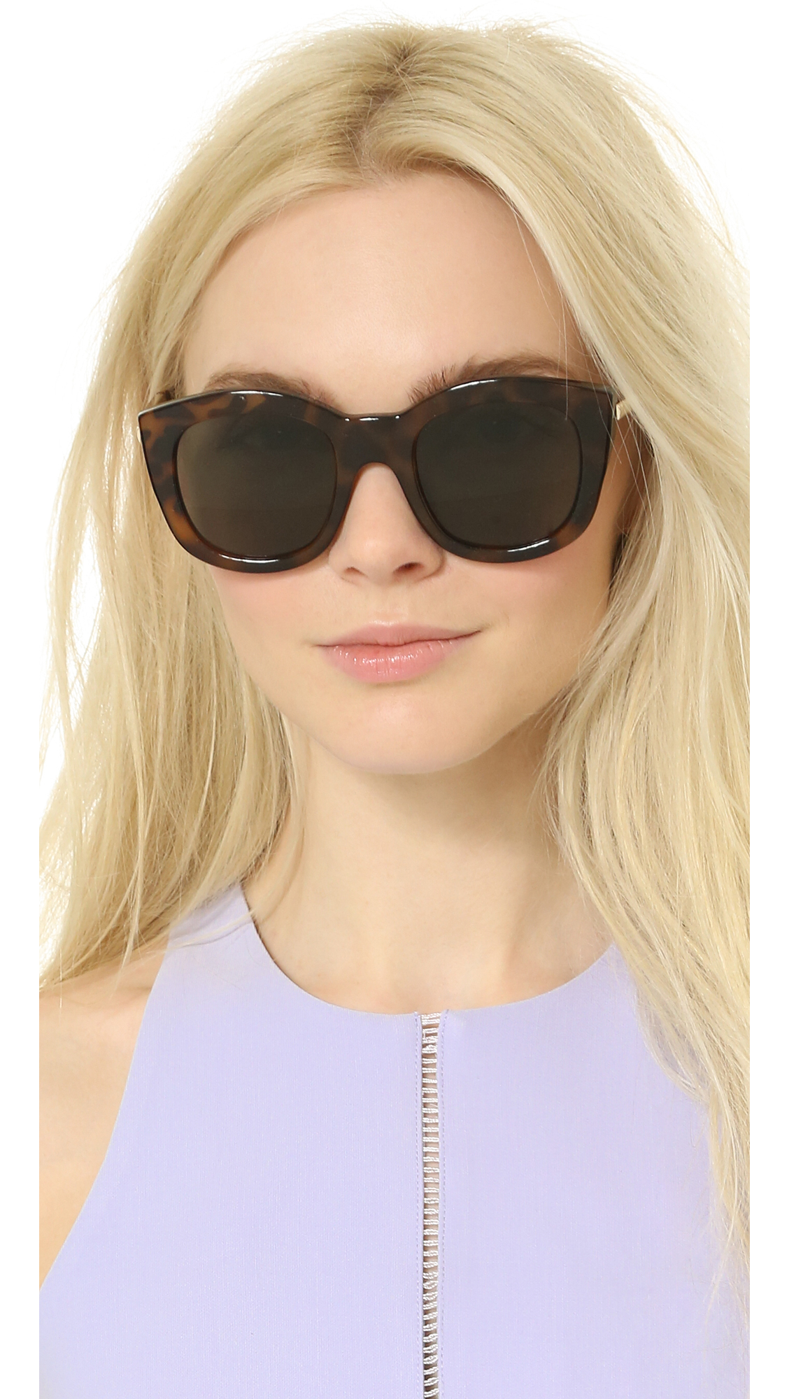 51978a757a5 Lyst - Le Specs Runway Luxe Mirrored Sunglasses - Milky Tort khaki ...