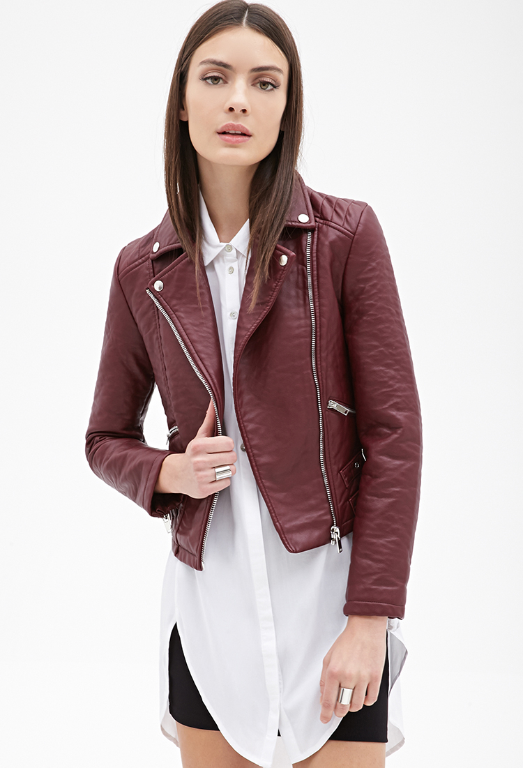 300c91bf8ed Lyst - Forever 21 Zippered Faux Leather Moto Jacket in Purple