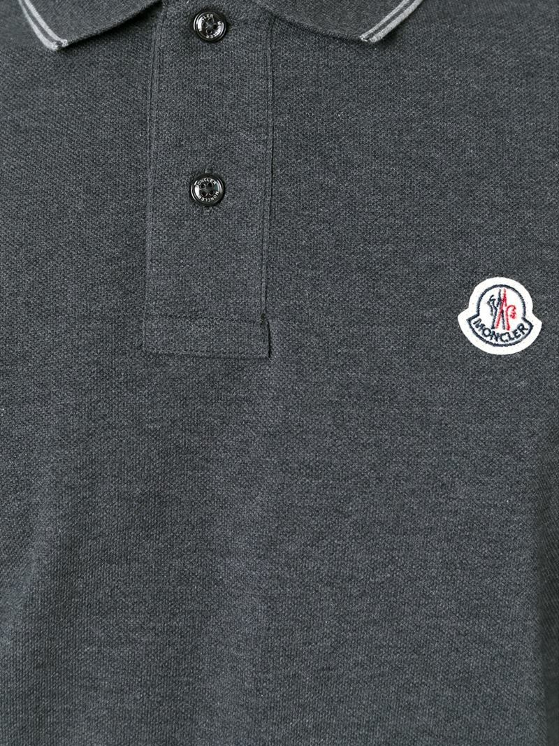 bd62c72f0341 Lyst - Moncler Long Sleeve Polo Shirt in Gray for Men