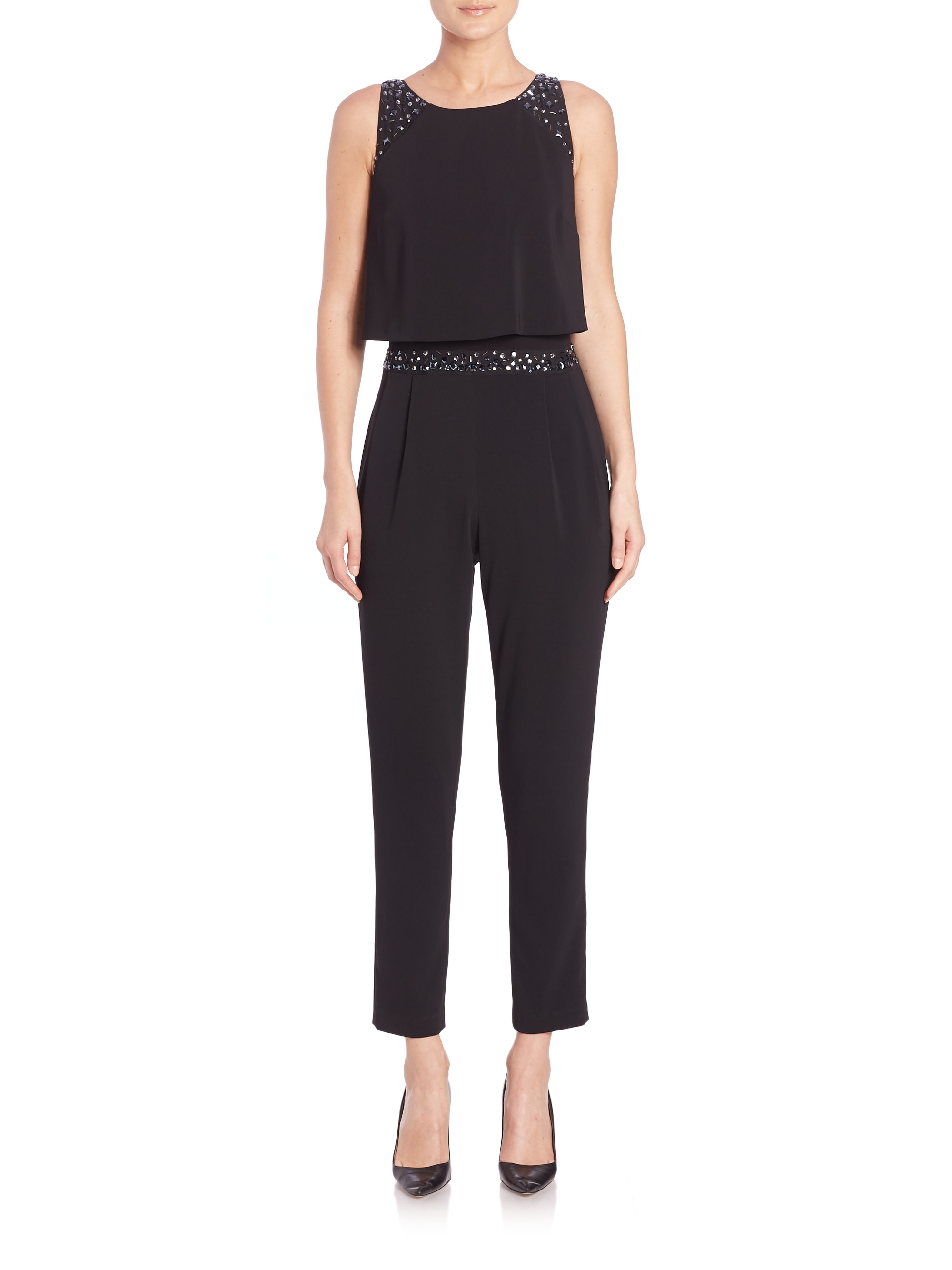 358c365929c Lyst - Laundry by Shelli Segal Embellished Popover Crepe Jumpsuit in ...