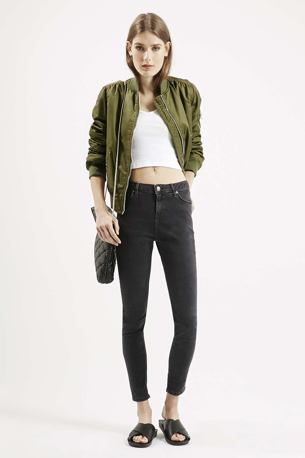 Topshop Petite Ma1 Bomber Jacket in Natural | Lyst