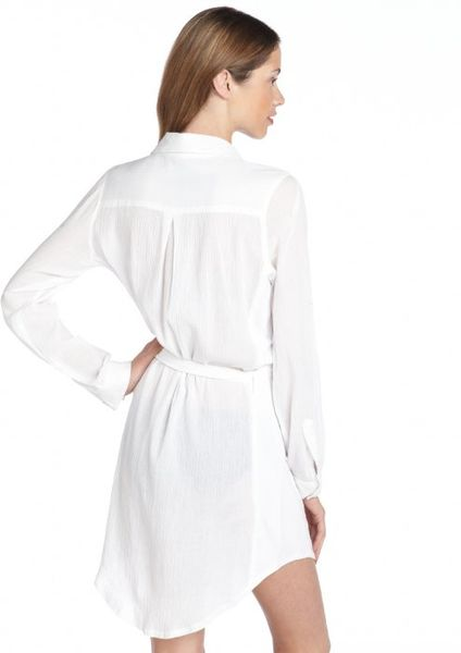 calvin klein cotton button down shirt dress cover up in