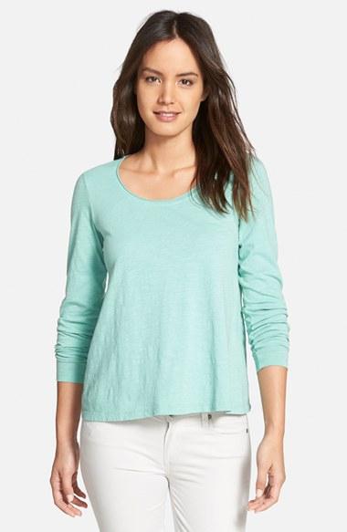 Eileen fisher organic cotton jersey scoop neck tee in for Eileen fisher organic cotton t shirt
