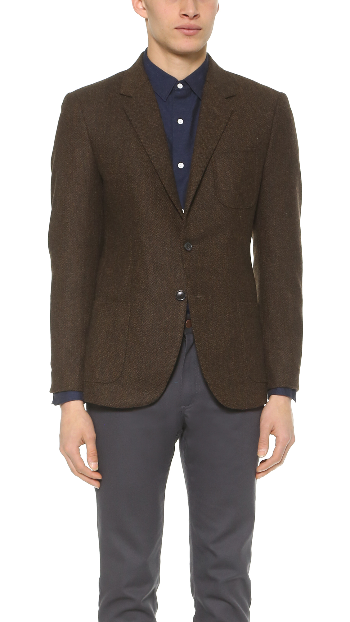 Brooklyn tailors Tweed Herringbone Blazer in Brown for Men | Lyst