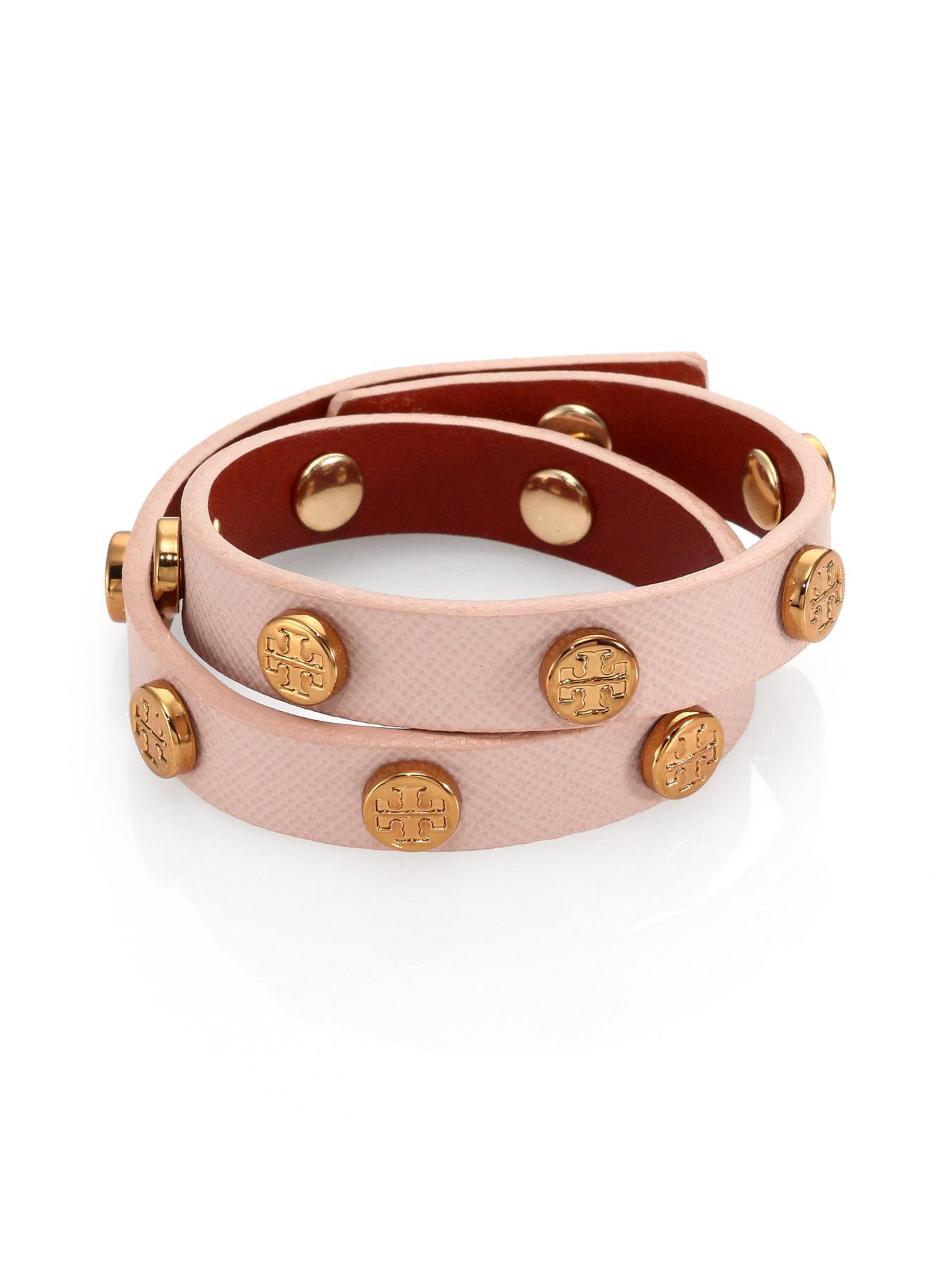 Tory Burch Leather Logo-Stud Double-Wrap Bracelet 1yljFZ69d