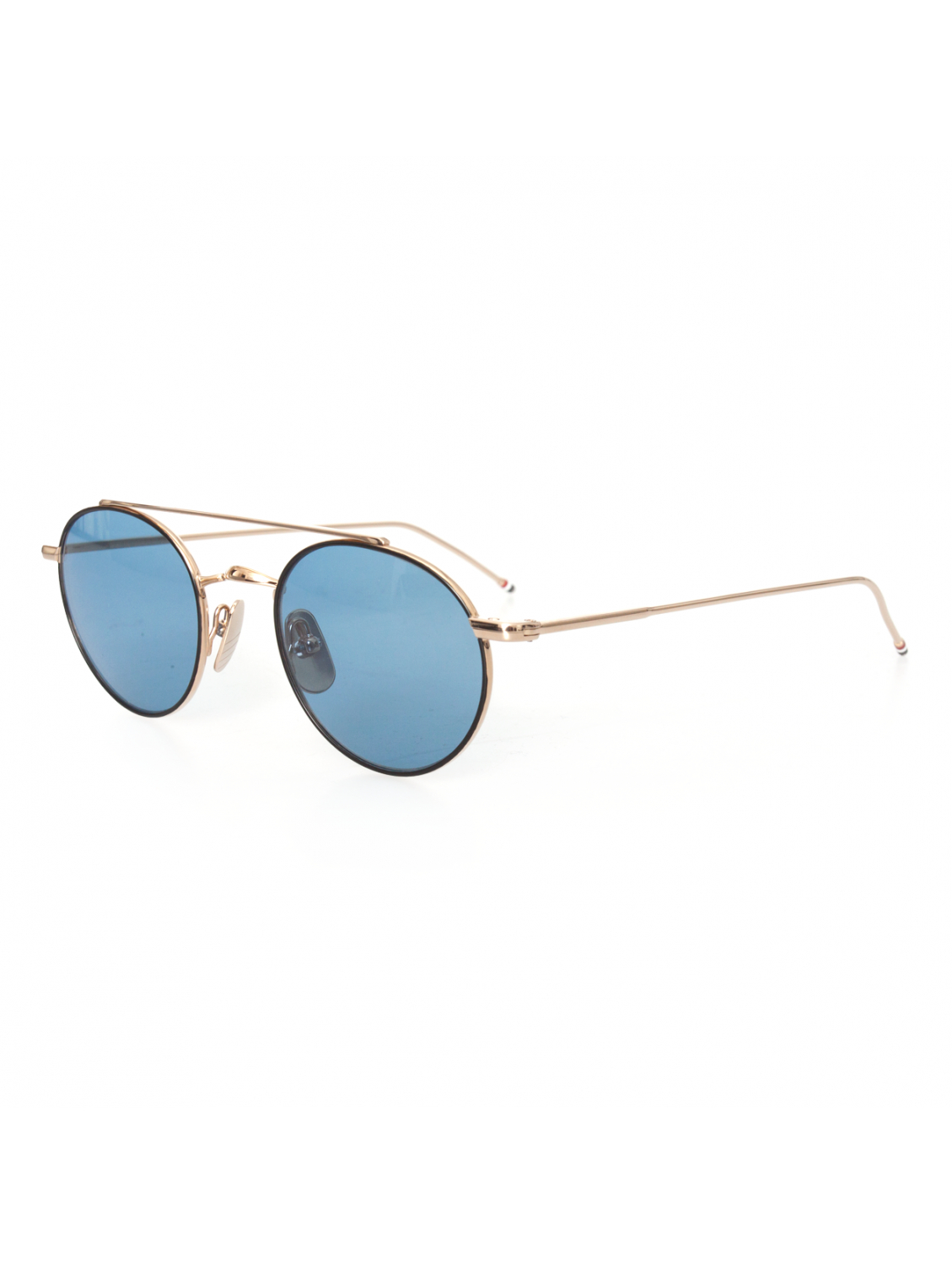 Round Gold Frame Sunglasses By Thom Browne : Thom Browne Round-Frame Metal Sunglasses Gold/Black/Blue ...