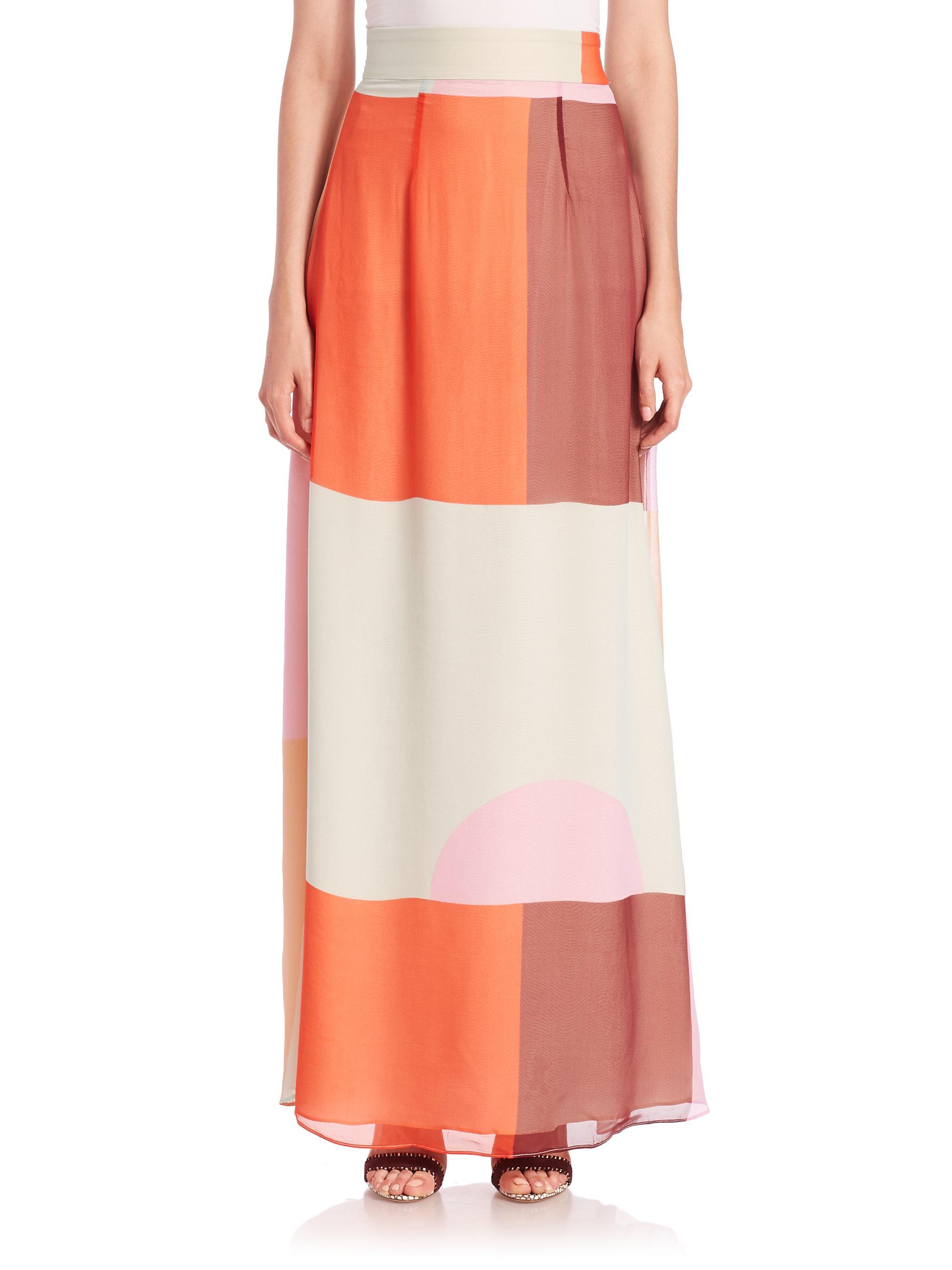 zimmermann rhythm colorblock silk maxi skirt in orange lyst